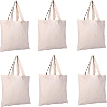 6 PCS Sublimation Blank Canvas Bags Blank Canvas Tote Bags Reusable Grocery Bags Shopping Bag for Crafting Decorating,Heat Transferring