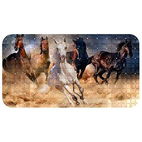 Alfombrilla antideslizante para bañera con pintura al óleo abstracta de caballos en el desierto, alfombrillas de ducha de PVC con potente ventosa de agarre para baño de 14.6 x 27 pulgadas