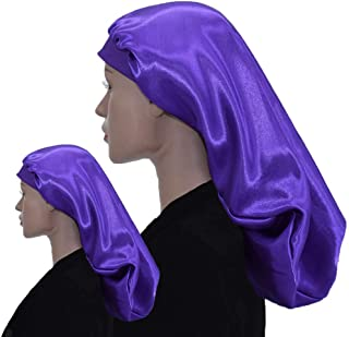 Satin Hair Bonnet Sleep Cap - Double Layer, Extra Large Long, Comfort XL Huge, Purple with Soft Elastic for Women Protecti...