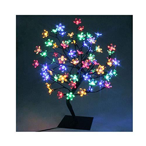 60cm LED Baum Bäumchen Mit 90er Blüten Blütenbaum Kirschbaum Lichterbaum Baum für Weihnachten Hochzeit Partei Innen Dekoration (Bunt)