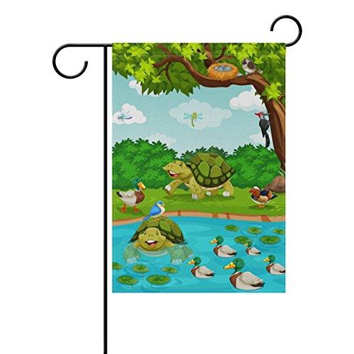 mydaily Schildkröte Ente Baum Fluss Cartoon Dekorative doppelseitig Garden Flagge 12x 18und 71,1x 101,6cm, Polyester, multi, 28 x 40 inch