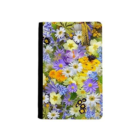 beatChong Gelb Blau Blumen Sträucher Pass-Halter-Reise-Brieftasche Abdeckungs-Fall Karten-Geldbeutel