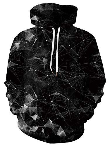 ALISISTER Herren Damen Hoodies 3D Lustig Schwarze Geometrie Grafik Kapuzenpullover Pullover Sweatshirt Beiläufig Langarm Bunt Kapuzenpullimit Fleece-Innenseite M