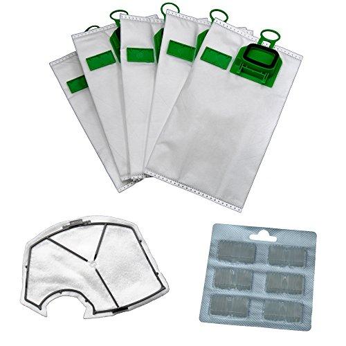 6 bolsas de aspiradora de microfieltro + 1 filtro de protección del motor + 6 bloques aromáticos adecuados para tu Vorwerk Kobold 140/150 / VK 140 / VK 150