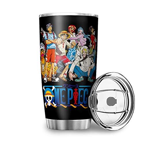 Firelife One Piece Luffy - Taza térmica a prueba de fugas con doble pared de aislamiento, botella para el coche con tapa de agua, para viajes, camping y coche, Negro  , 600 ml