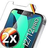UTECTION 2X Schutzglas für iPhone 12, iPhone 12 Pro (6.1') - Perfekte Anbringung Dank Rahmen - Premium Displayschutz 9H Glas - Front Schutz Vorne - Folie Schutzfolie Schutzglas - 2 Stück