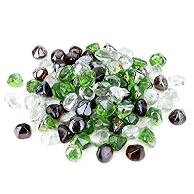 Stanbroil 10-Pound 1/2 Fire Glass Diamonds Blended Emerald Green,Crystal Ice,Amber Luster for Indoor and Outdoor Gas Fire Pits and Fireplaces