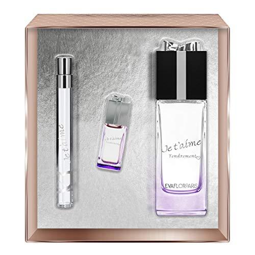 Evaflorparis Je T'Aime Tendrement Gift Box Eau de Parfum 100 Ml + Miniature 7.5 Ml +Pocket Atomizer 12 Ml Set Women Spray for Her Women Perfume Evaflorparis 520 g