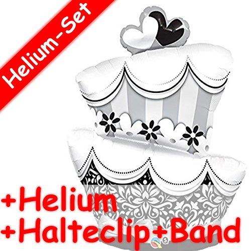 Enorme Shape folieballon * taart * + Helium vulling + houder clip + band voor de bruiloft of als geschenk // folie ballon decoratie ballongas verjaardag huwelijk geschenk liefde Marriage goud