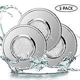 Paquete de 3 filtros de fregadero de colador de fregadero de cocina de acero inoxidable, evite el bloqueo para la ducha del baño de la cocina