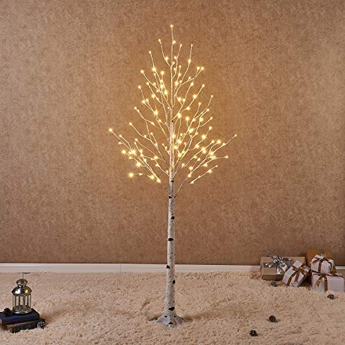 Hairui Lighted White Birch Tree 6FT 128L for Christmas Thanksgiving Holiday Wedding Party Decorations Tree Plug in Indoor Outdoor Use