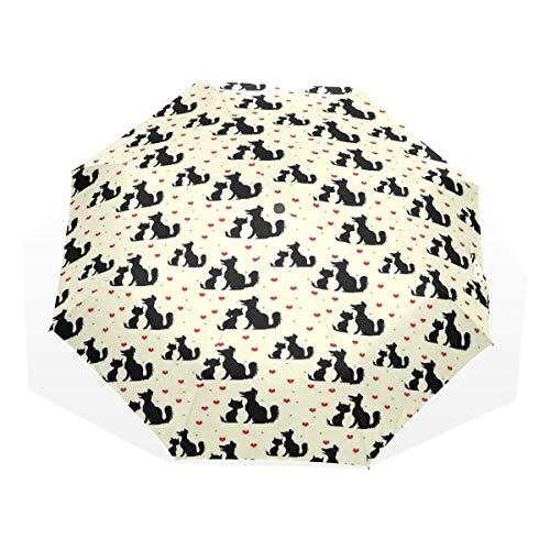 LASINSU Regenschirm,Schwarze Hunde und Katzen Schattenbilder mit Haustier Haustier Liebe der roten Herz Haustiere,Faltbar Kompakt Sonnenschirm UV-Schutz Winddicht Regenschirm