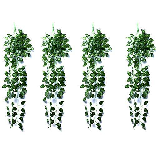 Martha & Ivan Künstliche Efeu-Pflanzen zum Aufhängen im Innenbereich, künstliches Efeu-Spalier mit künstlichen Blättern, grüne Ranken, Dekoration für Schlafzimmer Efeugrün 2