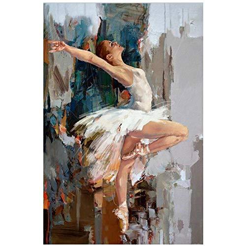 kldfig Bailarina Bailarina Pintura de la Lona Impresión Pintada Ballet Abstracto Chica Pintura de la Pared Arte Moderno de la Pared Imágenes - 50x70cm sin Marco