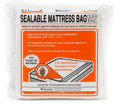 """U-Haul Sealable Mattress Bag - Moving and Storage Protection for Mattress or Box Spring - 3 Mil (Queen or King Size Mattress) - 100"""" x 91"""" x 14"""""""