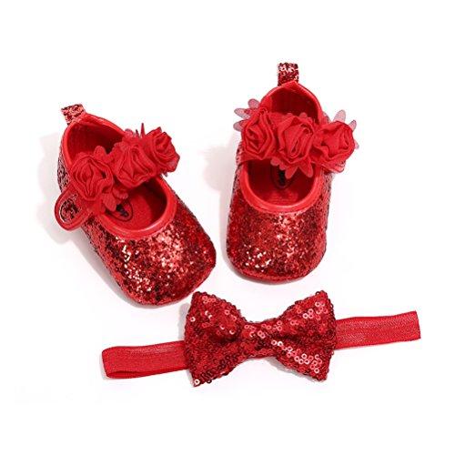 EDOTON Schuhe Haarband Set für Baby Mädchen Blume Lauflernschuhe Kleinkind Anti-Rutsch-Weiche Taufe Prinzessin Schuhe Sneaker (0-6 Monate, Rot)