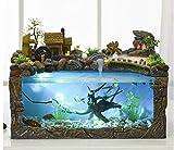YMXX® Desktop fuente de tanque de peces ecológica hogar paisaje acuario Feng Shui adornos de rueda decoraciones de oficina