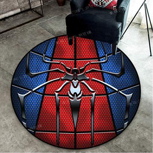 Alfombra Crystal Velvet Cartoon Anime Avengers Marvel Heroes Iron Man Spiderman Dormitorio Computadora Silla Giratoria Cesta Alfombra Redonda Diámetro Tamaño 80Cm
