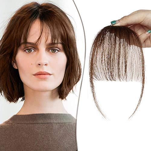 Clip in Fringe Bangs Human Hair Extensions Light Bangs #4 Medium Brown (3g)