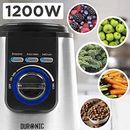 Duronic BL1200T Blender Frullatore da tavolo mixer cucina lame 4 coltelli acciaio INOX 1200W multifunzione caraffa in tritan da 1.8L funizione tritaghiaccio auto-pulizia con pulse