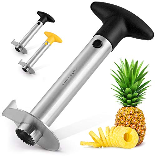 Simple Craft Pineapple Corer and Slicer Tool - Stainless Steel Pineapple Cutter With Sharp Built-in Blade & Detachable Handle - Heavy-Duty Pineapple Corer For Easy Coring & Ring Slices (Black)