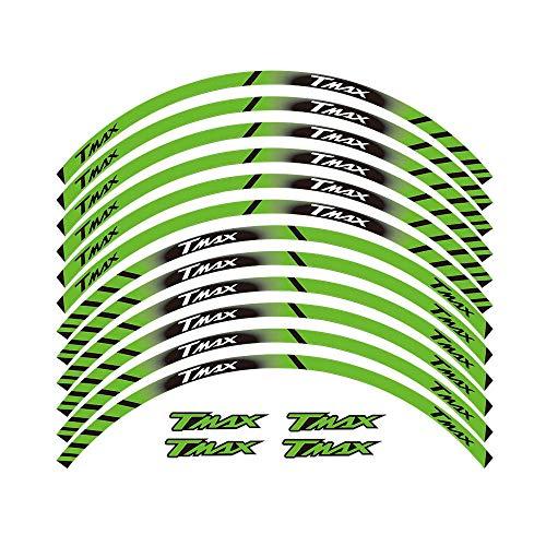 FIT YAMAHA TMAX TMAX500 TMAX530 500 530 15 '' X 12 Bordo Spesso Esterno Rim Sticker pegatinas Banda ruedas pegatinas moto (Color : Green)