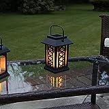 schwarze Solar Laterne mit LED Kerze und täuschend echt wirkenden Flacker-Effekt, von Festive Lights - 5