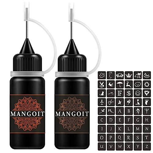 MANGOIT Temporary Tattoo Kit, Freckles Tattoo, Semi-permanent Tattoo Set, 2 Bottles Fruit Gel/Ink with 54 PCS Self-adhesive Tattoo Stencils(Red&Brown)