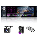 Multimedia Car Stereo- Single Din,4.1 Inch Touch Screen Car Stereo Bluetooth Audio and Hands-Free Calling,Rear Microphone Input,MP5 Player, AUX Input, RearViewCamera,AM/FM/RDS Radio Receiver