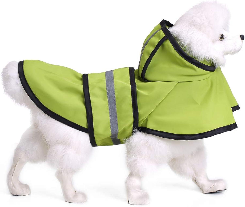 Dog Raincoats Waterproof, Fashion Pet Rainy Days Green Raincoat, Dog Raincoat with Hood Collar Hole Safe Reflective Strips, for Small Or Medium Dogs,XXL