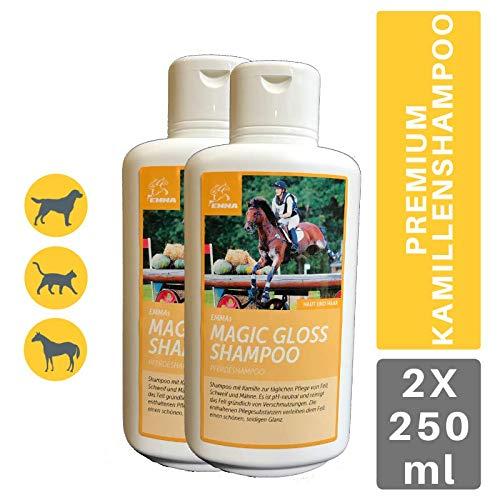 EMMA ♥ Champú económico para Caballos I Cuidado del Caballo I Cuidado del Pelo I Champú para Caballos y Perros I Manzanilla y proteínas I Limpieza Suave, pH Neutro 2 x 500 ml