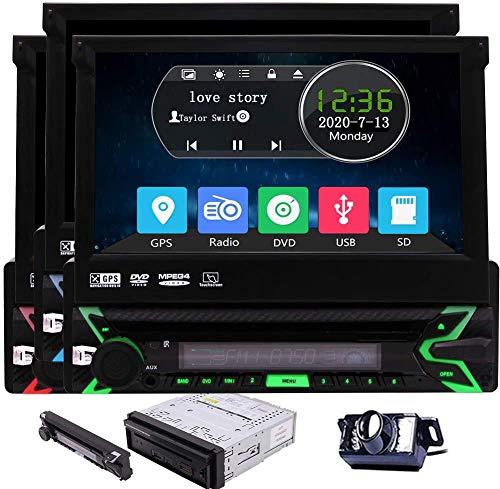Eincar Single Din Car Stereo Bluetooth Car CD DVD Player 7 Inch Detachable Panel Touchscreen Radio Vehicle Radio Headunit Free 8GB GPS Map Card Backup Camera Autoradio Receiver Aux subwoofer RDS