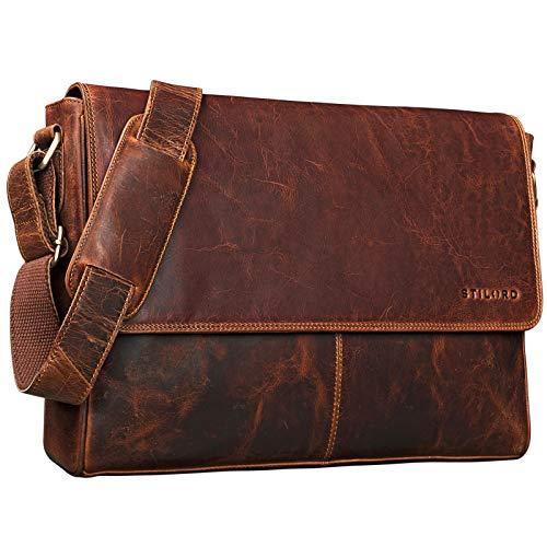 STILORD 'Oskar' Umhängetasche Laptoptasche 15 Zoll aus echtem Leder Messenger Bag Business Vintage Look, Farbe:Kara - Cognac