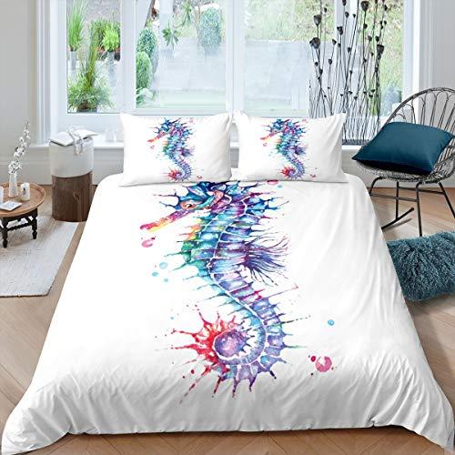 Loussiesd Seepferdchen-Bettwäsche-Set für Kinder, Mädchen, Teenager, Frauen, bunt, Batik-Dekor, Deckenbezug, Meerestier-Tagesdecke, 3-teilig, Reißverschluss, Doppelbett-Größe