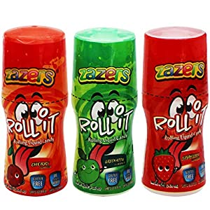 Zazers Licker Candy - Sour Rolling Liquid Candy - 3 Pack of Roll-It Bottles 1 Cherry 1 Green Apple and 1 Strawberry, Gluten-Free and No Coloring Added (Kosher 1.35 OZ. each Bottle ) from Zazers