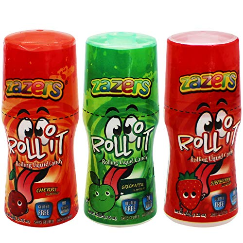 Zazers Licker Candy - Sour Rolling Liquid Candy - 3 Pack of Roll-It Bottles 1 Cherry 1 Green Apple...