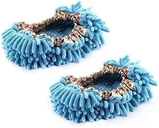 DealMux House Bedroom Floor Polishing Dusting Cleaning Foot Socks Shoes Mop Slippers Pair Sky Blue
