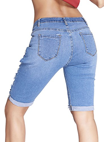 Dokotoo Womens Casual Denim Destroyed Bermuda Shorts Jeans X-Large Blue