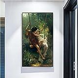 HWNU Arte De Pared De Lienzo Carteles de Primavera del Pintor francés Pierre Auguste Cot Impresos en Lienzo Pintura Famosa decoración del Dormitorio de la Sala de Estar Sin Marco