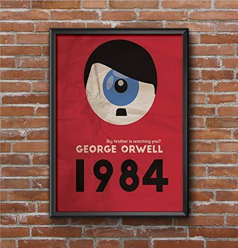 QUADRO POSTER COM VIDRO LITERATURA 1984 GEORGE ORWELL