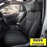 Custom Fit for Toyota 2019 2020 2021 RAV4 Faux Leather Car Seat Covers Full Set Compatible Airbag Rav4 Seat Protector Black (2019-2021 RAV4)