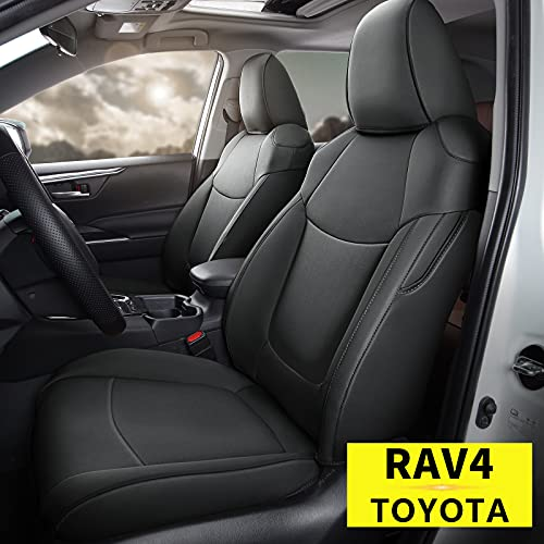 AOMSAZTO Custom Fit for 2019 2020 2021 Toyota RAV4 Faux Leather Car Seat Covers Full Set Compatible Airbag Rav4 Seat Protector Black (NOT for XSE)