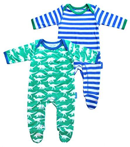 Toby Tiger 100% Organic Cotton 2 Pack Dino and Stripe Printed Sleepsuit with Feet, Combinaison Bébé garçon, Multicolore-Bigarré, 6-12 Mois (Lot de 2