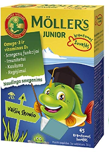Moller's Junior Omega-3 Children's 45 Chewable Capsules Fruit Flavour Made in Norway