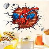 Sticker mural stéréo 3D Spiderman autocollants muraux fond stéréoscopique amovible créatif pour chambre d'enfant stickers décoration maison