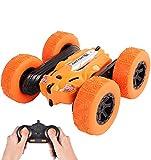 LUOWAN RC Voiture Télécommandée, 4WD Stunt Car Radiocommandée otation à 360 Degrés Jouet, 2.4GHz Scale Course Véhicule avec Batterie Rechargeable - Cadeau pour Enfants(Orange)