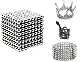 512 Pieces 3 Millimeter M-agnets Balls Building Game Building Blocks Toys for Intelligence Learning Development and Creative Educational Toy, Office Desk Toy & Stress Relief - Silver