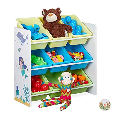 Relaxdays Kinderregal, 9 Aufbewahrungsboxen, Meerjungfrau Motiv, MDF, Kunststoff, Spielzeugregal HBT 67x65x31,5 cm, bunt, 1 Stück