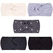 Whaline 5 Pieces Knit Headbands Winter Ear Warmers, 4 Elastic Turban Head Wraps and 1 Pearl Crochet Hair Band, Hair Scrunchies Scarves for Women Girls (Blue Grey Colors)