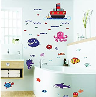 The Real Peel Premium Removable Wall Stickers for Kids Rooms, Nursery, Baby, Boys & Girls Bedroom - Peel & Stick, Large Removable Vinyl Wall Decal Stickers (Bath Friends)